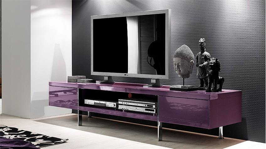 Lowboard Hochglanz lackiert TV Board Brisbane in purple lila