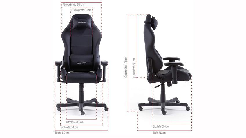 Schreibtischstuhl Bürostuhl DX RACER 3 Lederlook schwarz Game Chair