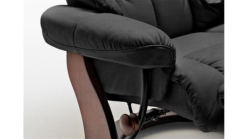 Relaxsessel CALGARY 1 Echtleder schwarz Gestell Walnuss