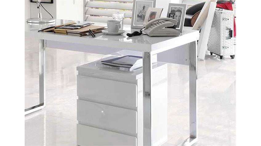 Schreibtisch SYDNEY Weiß Hochglanz und Chrom
