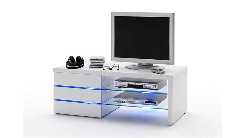 tv board sonia lowboard in wei hochglanz lackiert mit led. Black Bedroom Furniture Sets. Home Design Ideas