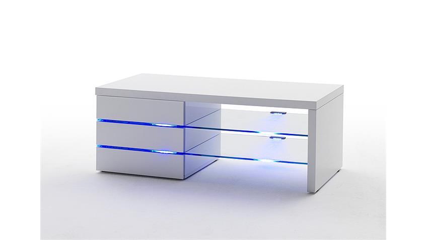 TV Board SONIA Lowboard in weiß hochglanz lackiert mit LED