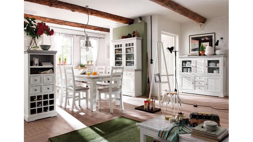 vitrine opus buffet schrank in kiefer massiv wei vintage. Black Bedroom Furniture Sets. Home Design Ideas