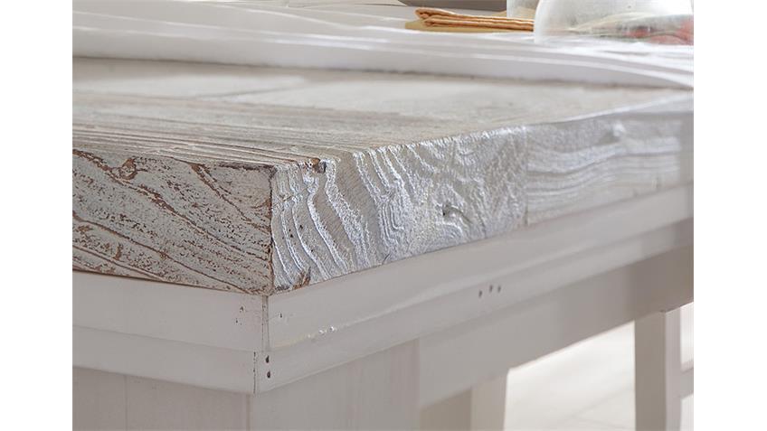 Esstisch OPUS Tisch in Kiefer massiv weiß Vintage 140-180