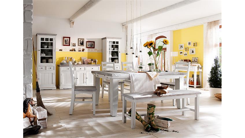 Bank Opus Esszimmer Sitzbank Vintage Kiefer massiv weiß
