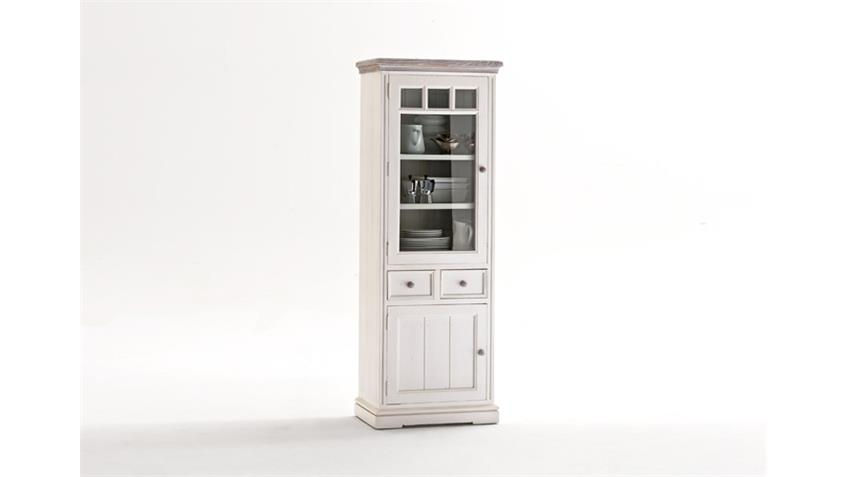 Vitrine OPUS Buffet in Kiefer massiv weiß Vintage links