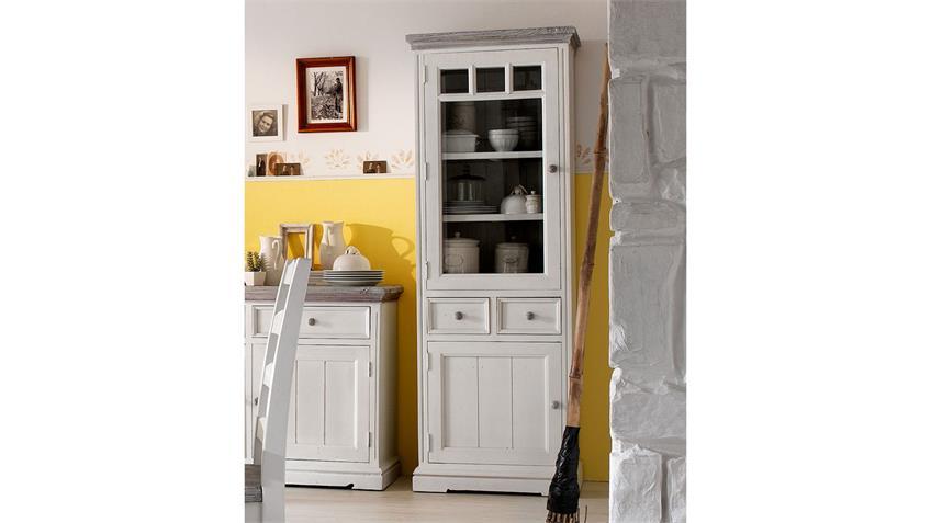 Vitrine 3 OPUS Kiefer massiv vintage used Look Landhaus