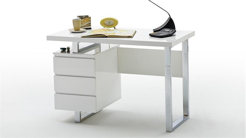 Schreibtisch SYDNEY in weiß Hochglanz lackiert mit 3 Schubkästen