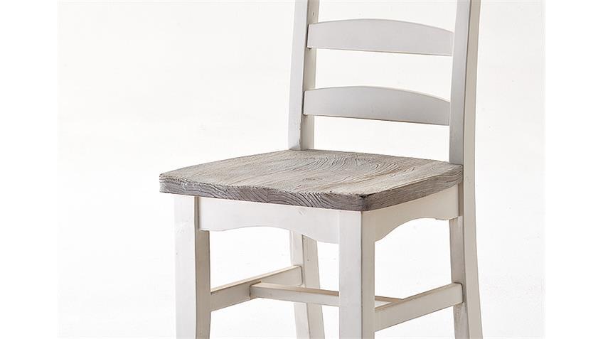 Stuhl 6er Set OPUS Esszimmerstuhl Kiefer massiv weiß Vintage