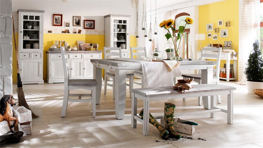 Stuhl OPUS 6er-Set Kiefer massiv vintage used Look Landhaus