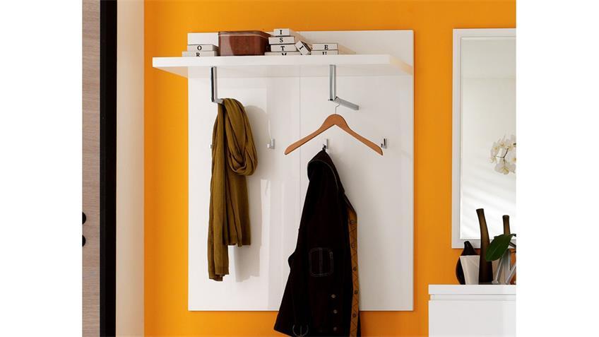 Wandpaneel SYDNEY weiß Hochglanz lackiert mit 2 Kleiderstangen 4 Haken