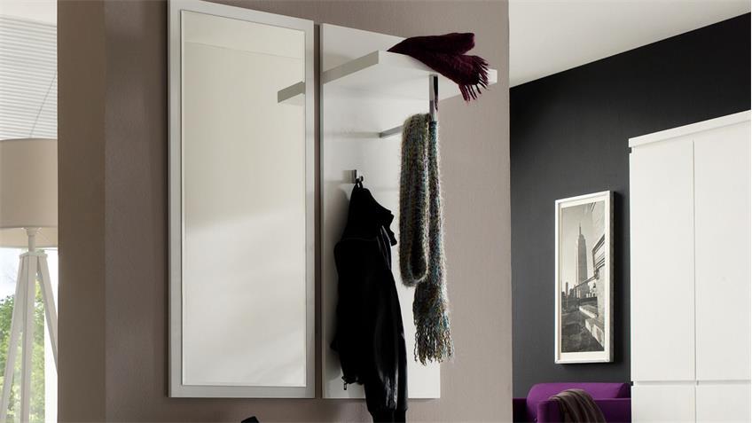 Wandpaneel SYDNEY weiß Hochglanz lackiert mit 1 Kleiderstange 2 Haken