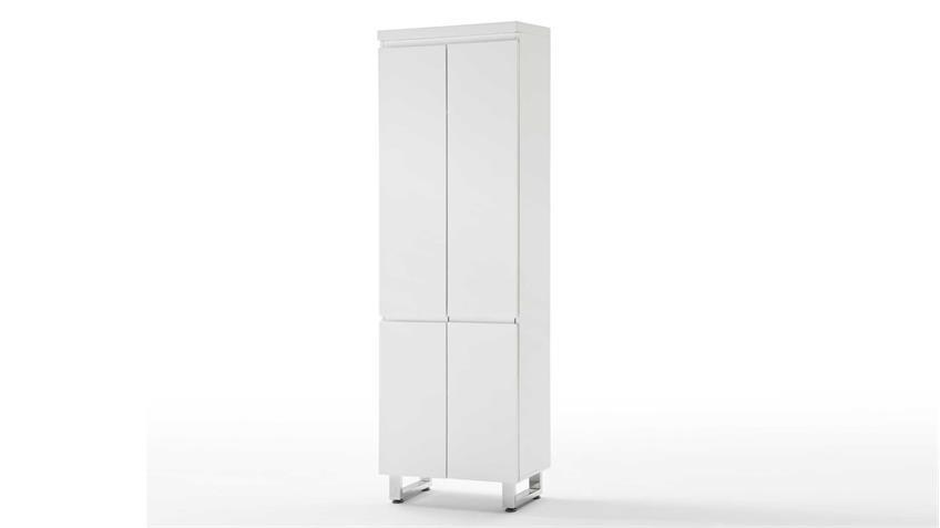Dielenschrank SYDNEY in weiß Hochglanz lackiert mit 1 Kleiderstange