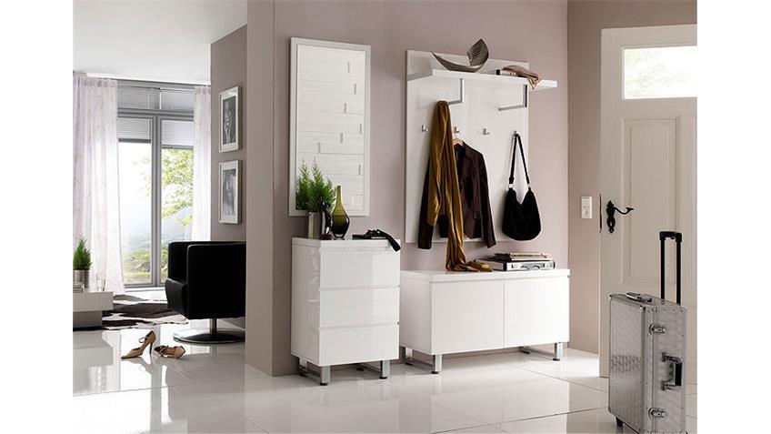 Garderobenset SYDNEY 1 Garderobe in weiß und Hochglanzlack
