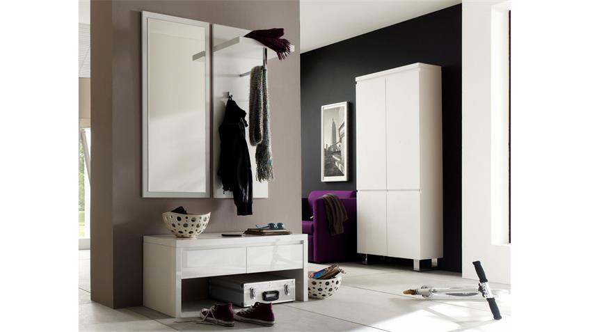 garderobe 3 sydney flurm bel in wei hochglanz lackiert 4 teilig. Black Bedroom Furniture Sets. Home Design Ideas
