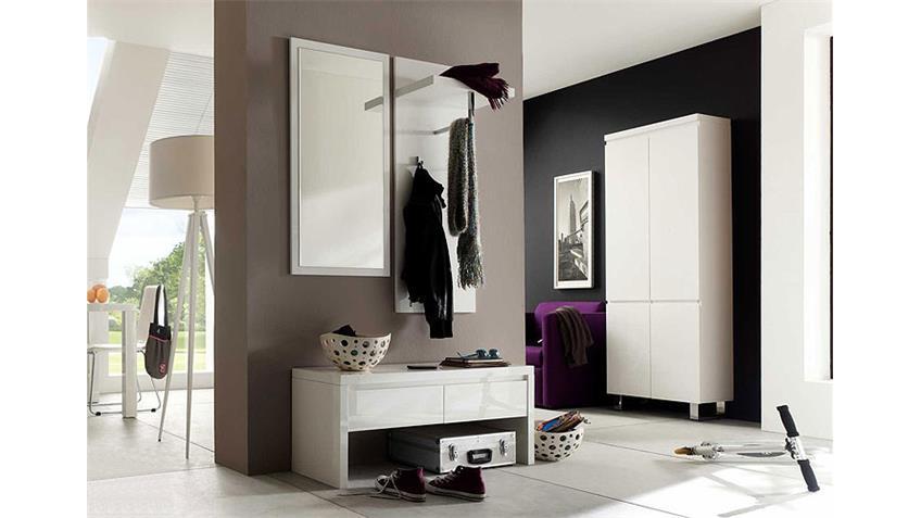 Garderobenset SYDNEY3  Garderobe 4 teilig in weiß hochglanz