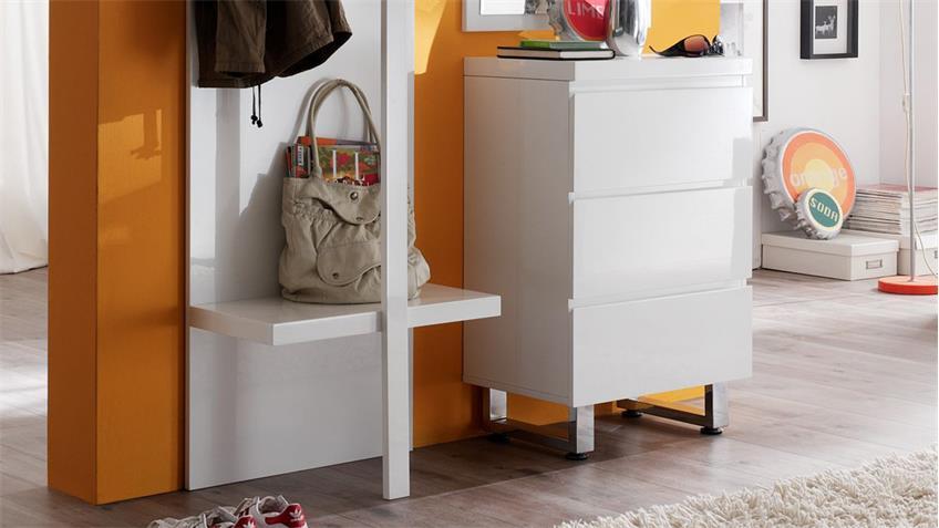 Garderobe 4 SYDNEY Flurmöbel in weiß Hochglanz lackiert 3-teilig