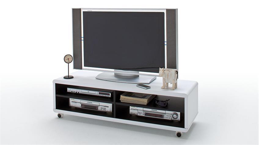 TV-Board JEFF Lowboard Unterschrank Fernsehschrank weiß schwarz 120