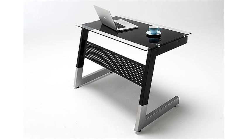 Schreibtisch ROBY Glas/ Metall Schwarz 100x70