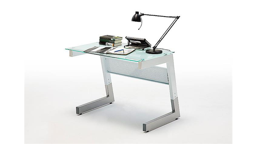 Schreibtisch ROBY Glas / Metall Weiß 100x70