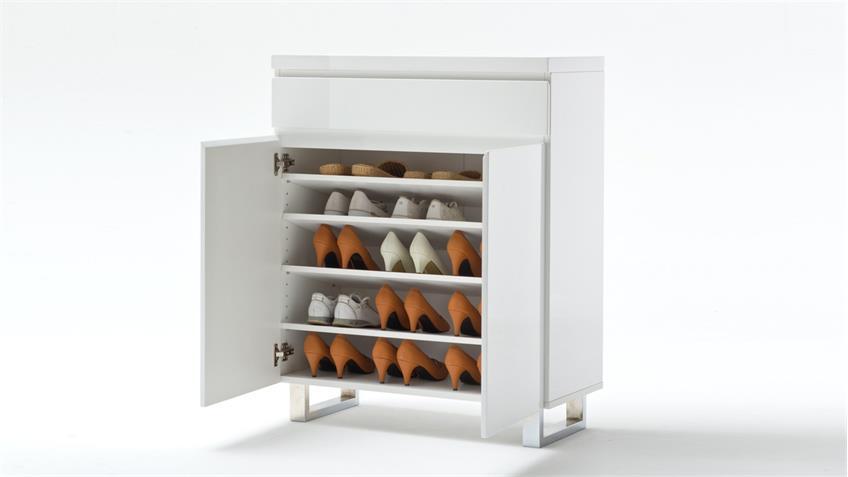Schuhschrank SYDNEY weiß Hochglanz lackiert mit 2 Türen 1 Schubkasten