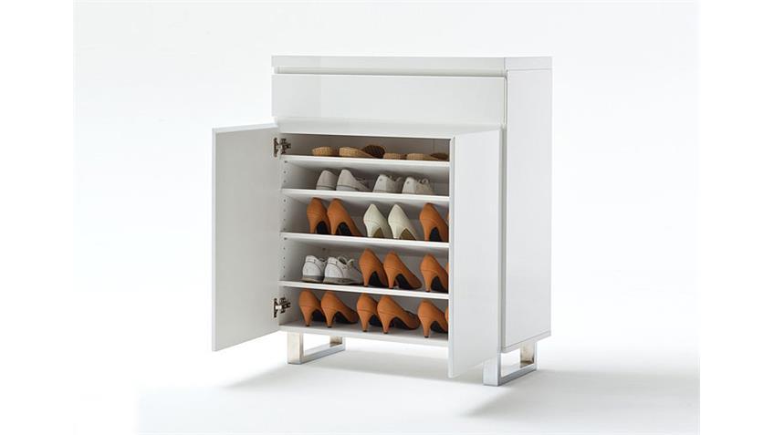 Schuhschrank SYDNEY I Weiß Hochglanz lackiert