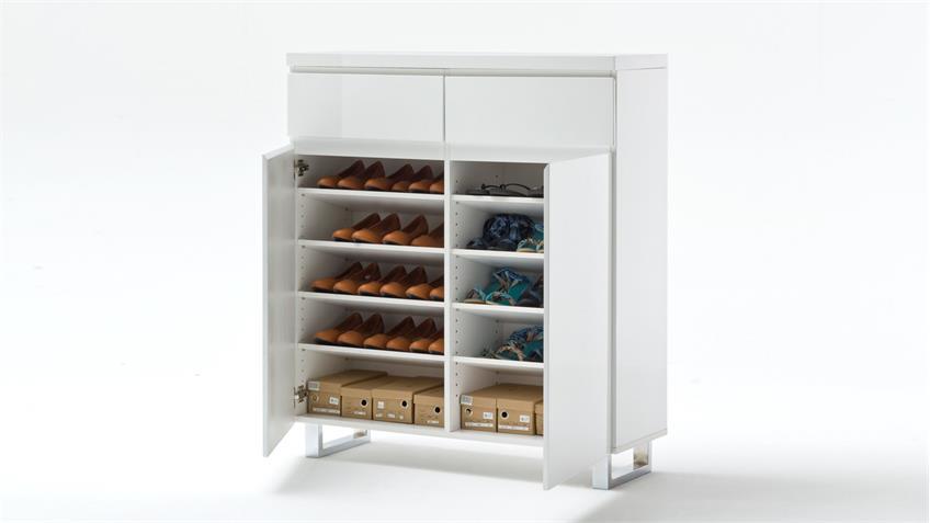 Schuhschrank SYDNEY weiß Hochglanz lackiert mit 2 Türen 2 Schubkästen