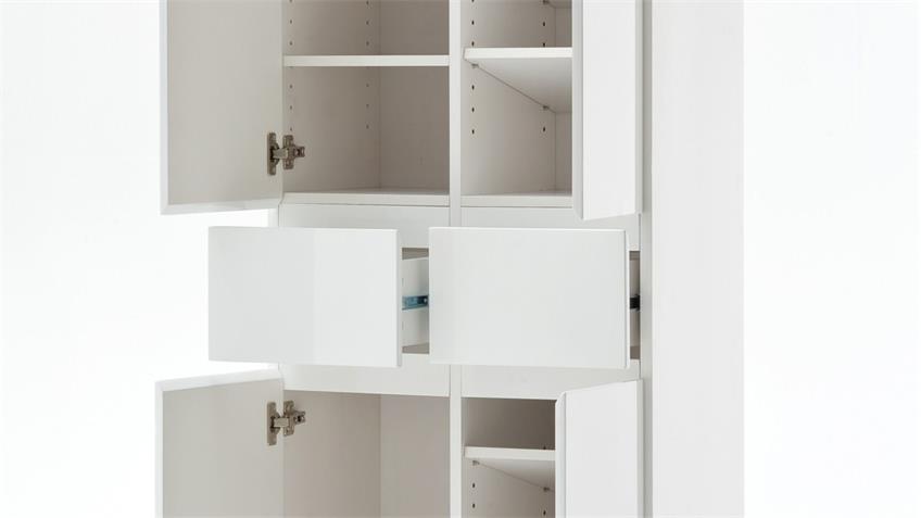 Schuhschrank SYDNEY weiß Hochglanz lackiert mit 4 Türen 2 Schubkästen
