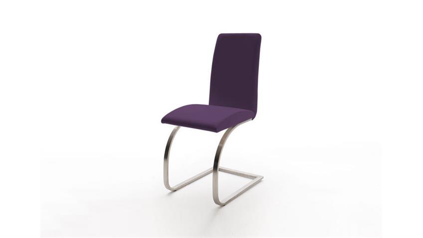 Schwingstuhl KARMO 4er Set Lederlook in violett Edelstahl