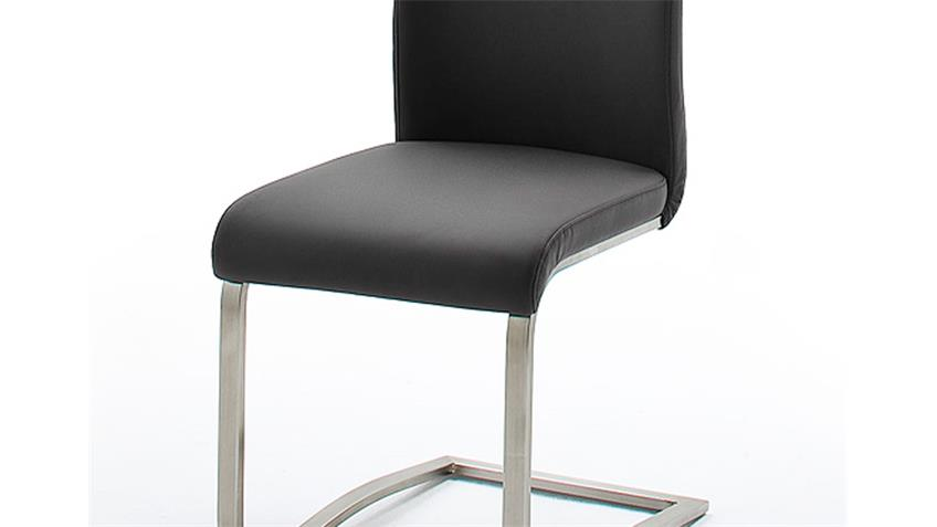 Stuhl ARCO 6er Set in Echtleder schwarz und Edelstahl