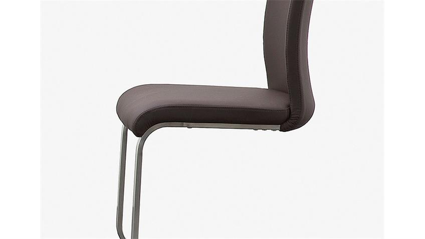 Stuhl ARCO 4er Set in Echtleder braun und Edelstahl