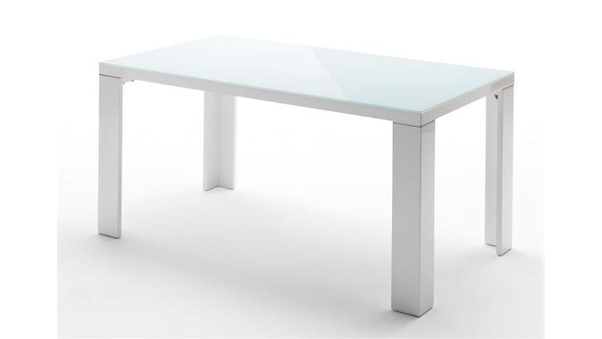 Esstisch TIZIO weiß Hochglanz mit Glasplatte 140 x 90 cm