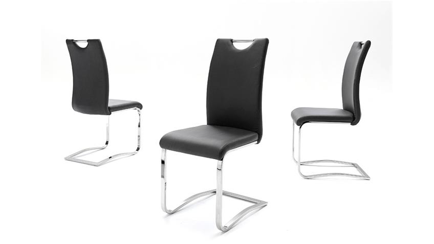 Stuhl KÖLN Freischwinger 4er Set in schwarz und Chrom