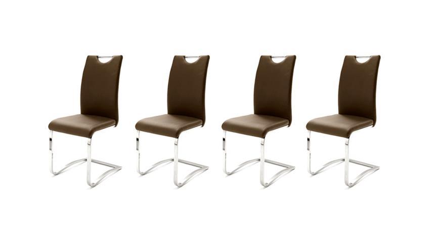 Stuhl KÖLN Freischwinger 4er Set in Cappuccino und Chrom