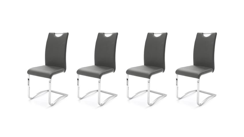 Stuhl KÖLN Freischwinger 4er Set in grau und Chrom