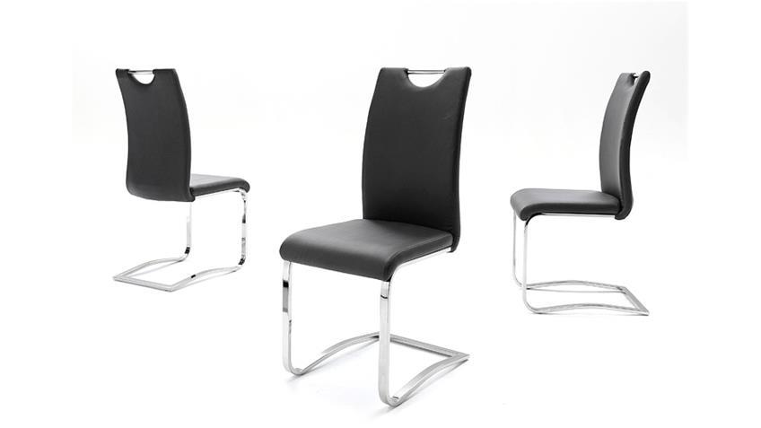 Stuhl KÖLN Freischwinger 6er Set in Schwarz und Chrom