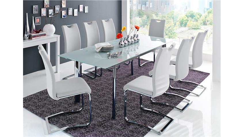 Stuhl KÖLN Freischwinger 6er Set in weiß und Chrom