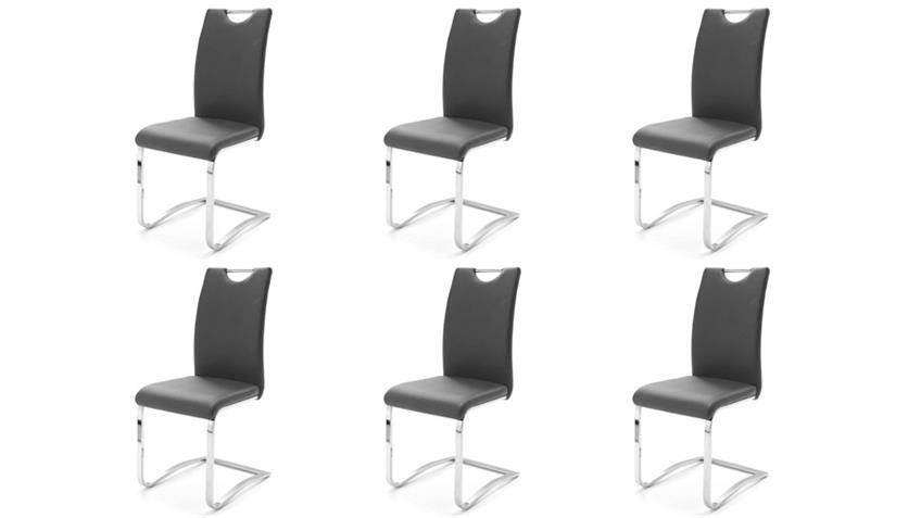 Stuhl KÖLN Freischwinger 6er Set in Grau und Chrom