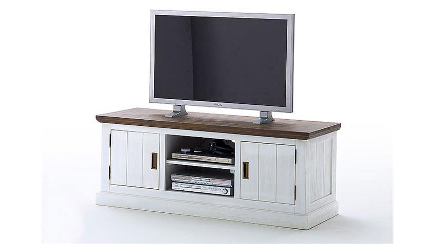 TV-Board GOMERA Lowboard TV-Schrank Akazie weiß teilmassiv