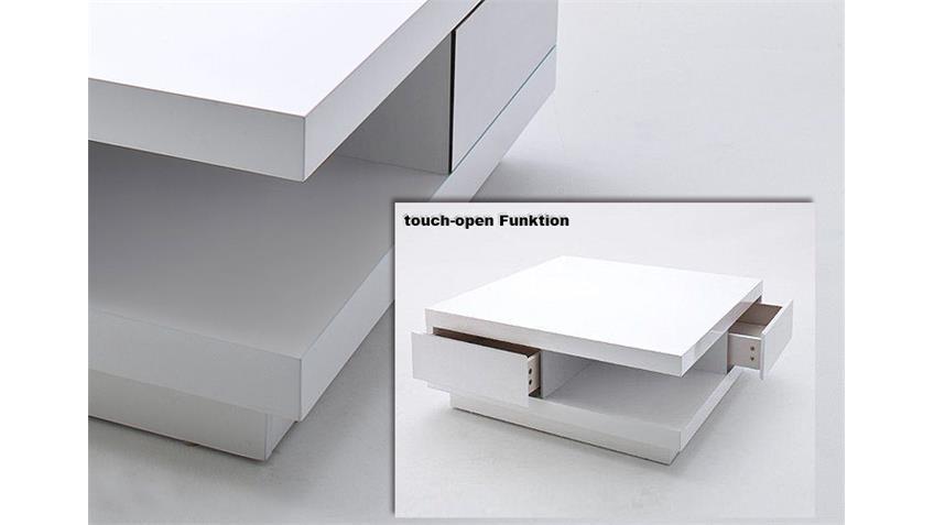 Couchtisch ABBY mit Touch Open Funktion Lack weiß 85x85