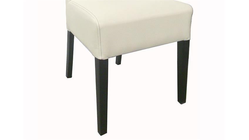 Stuhl ENYA 6er Set Gestell Buche Kolonial, Bezug Cremeweiß