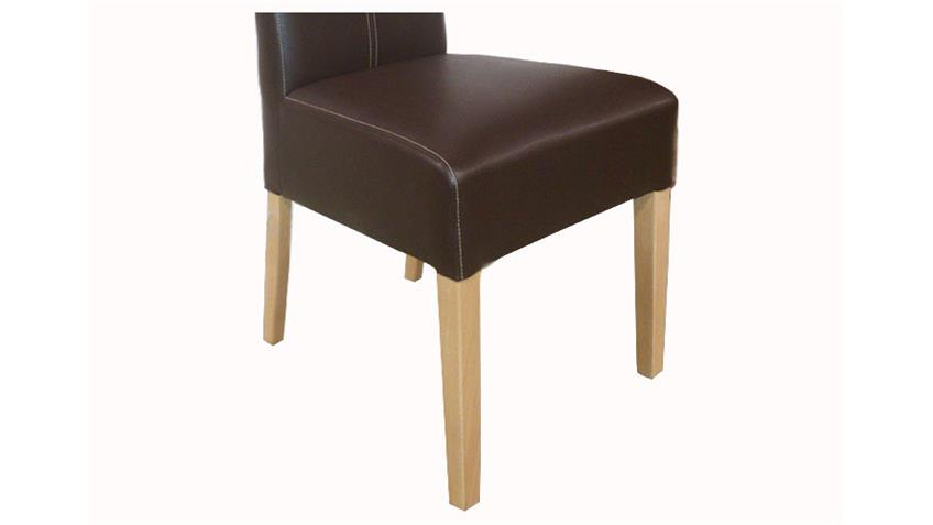 Stuhl ENYA 6er Set Gestell Buche, Bezug Braun