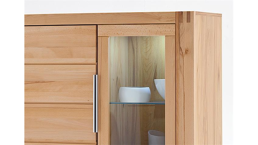 Highboard Kombi GIANT links Kernbuche mit Wachseffektlack