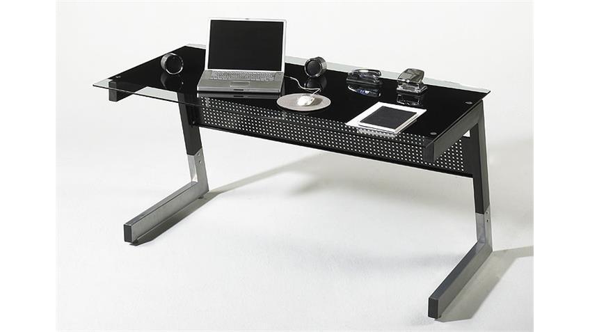 Schreibtisch ROBY Glas/Metall Schwarz 150x80