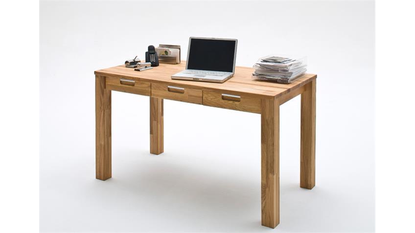 Schreibtisch Büro CENTO Asteiche massiv geölt 3 Schubkästen