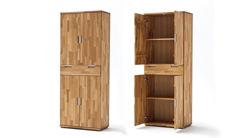Aktenschrank Zendo Asteiche massiv geölt Büroschrank 4-türig