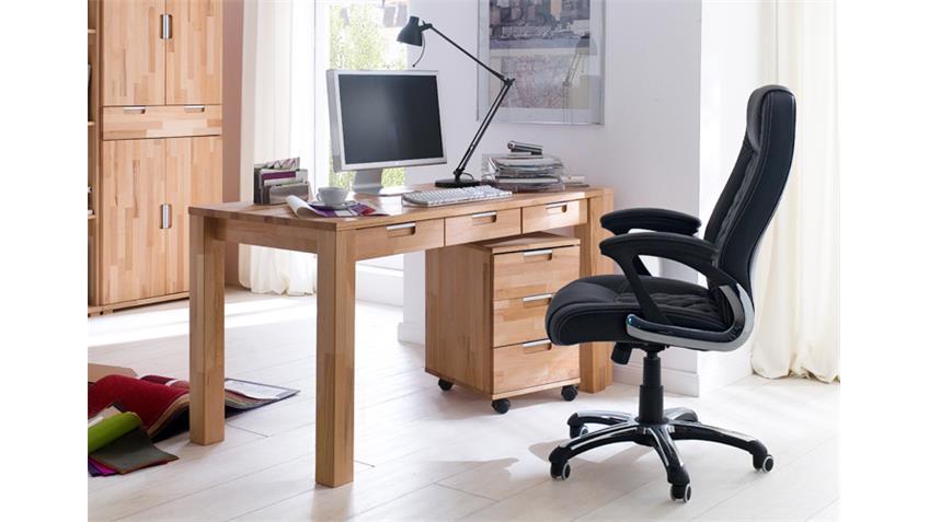 Schreibtisch Büro ZENDO Kernbuche massiv 3 Schubkästen