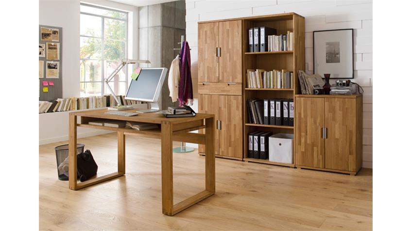 Schreibtisch JASMIN Asteiche massiv geölt mit Ablage