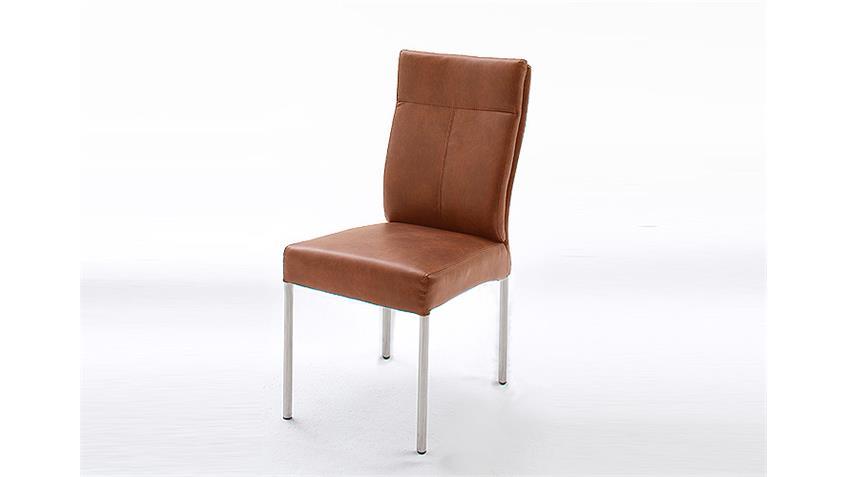 Stuhl EDWARD IV Esszimmerstühle in Cognac Vintage 4er Set