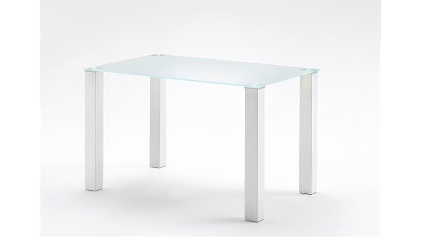 Tisch HANNA Küchentisch in weiß hochglanz Glas 120 cm